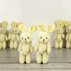 Büyük Boy Hareketli Peluş Tavşan Anahtarlık Beyaz 12'li Paket (kr1107) - Thumbnail