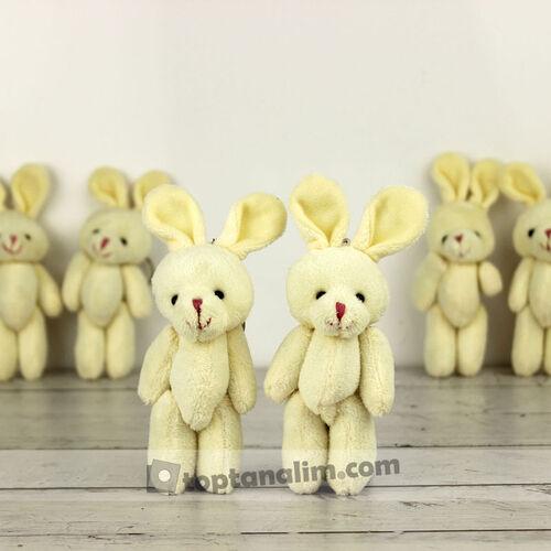 Büyük Boy Hareketli Peluş Tavşan Anahtarlık Beyaz 12'li Paket (kr1107)