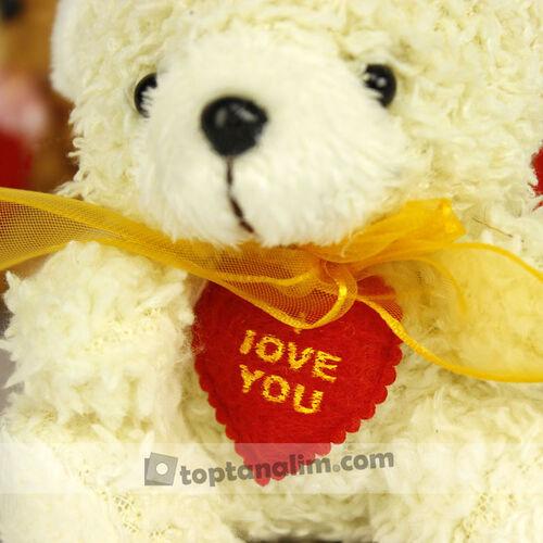 Tüylü I Love You Peluş Ayıcık Anahtarlık 12'li Paket (kr1131)