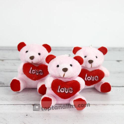 Büyük Boy Love Peluş Ayıcık Anahtarlık Pembe 12'li Paket (kr1029)