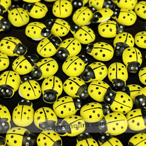 Büyük Boy Yapışkanlı Uğur Böceği Sarı 100'lü Paket (kr6008)