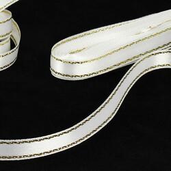 Çift Taraflı Simli Gold Şerit Saten Kurdele Beyaz(kr8068) - Thumbnail
