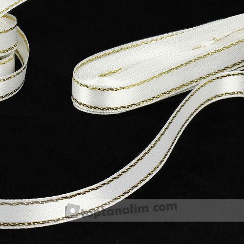 Çift Taraflı Simli Gold Şerit Saten Kurdele Beyaz(kr8068)
