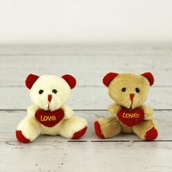 Love Peluş Ayıcık Anahtarlık Beyaz Ve Kahverengi 12'li Paket (kr1070) - Thumbnail