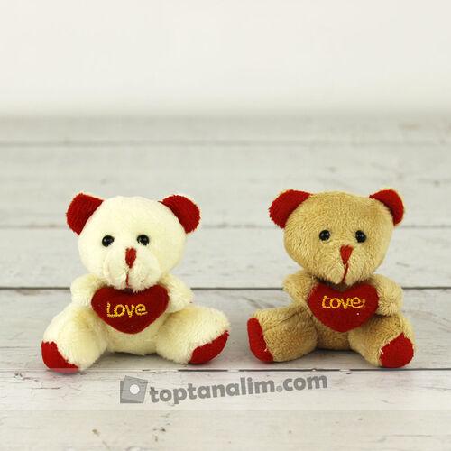 Love Peluş Ayıcık Anahtarlık Beyaz Ve Kahverengi 12'li Paket (kr1070)