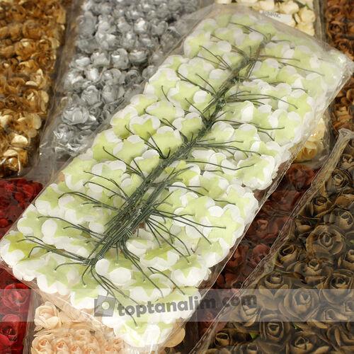Mini Kağıt Gül Koyu Yeşil 120 Li Paket (kr6082)