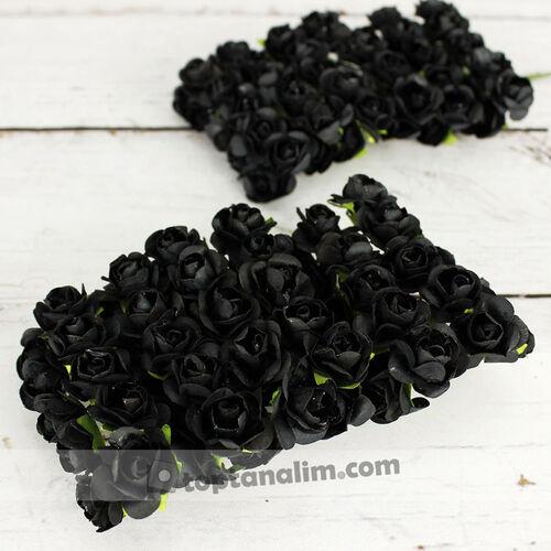 Mini Kağıt Gül Siyah 120 Li Paket (kr6066)