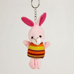 Renkli Elbiseli Peluş Tavşan Anahtarlık 12'li Paket (kr1095) - Thumbnail