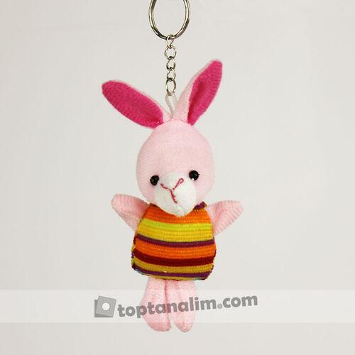 Renkli Elbiseli Peluş Tavşan Anahtarlık 12'li Paket (kr1095)