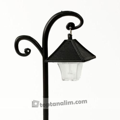 Siyah Nostaljik Dekoratif Sokak Lambası Teraryum Obje (kr3148)