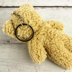 Tüylü Orta Boy Peluş Ayıcık Anahtarlık Kahverengi 12'li Paket (kr1101) - Thumbnail