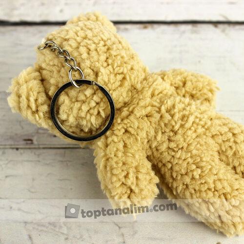 Tüylü Orta Boy Peluş Ayıcık Anahtarlık Kahverengi 12'li Paket (kr1101)