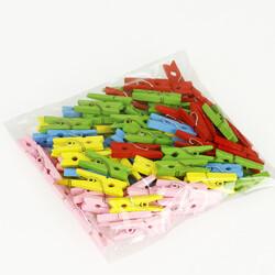 Renkli Ahşap Mini Mandal 50'li Paket - Thumbnail